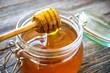 Honey drip in jar