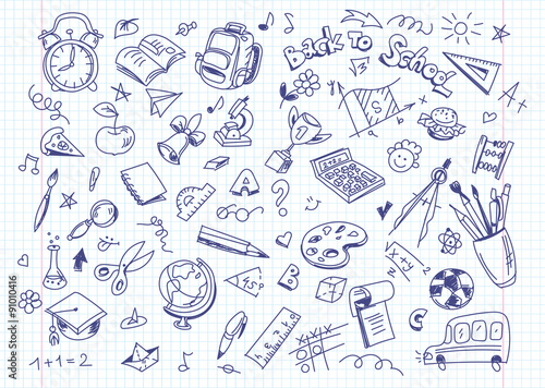 Back to school drawing background on copy book paper плакат