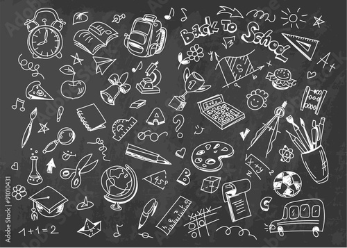 Poster Back to school vector drawing background on chalkboard