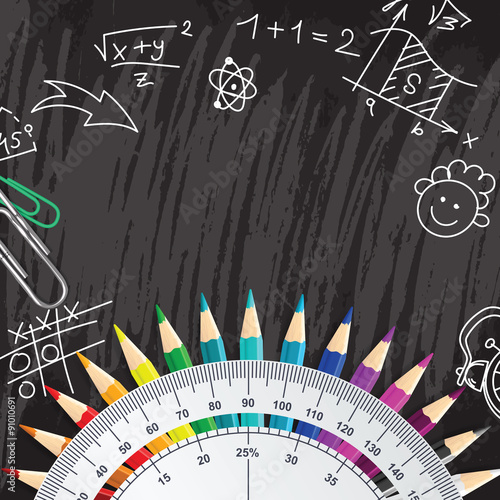 Poster Creative chalkboard school background with pencils and protracto