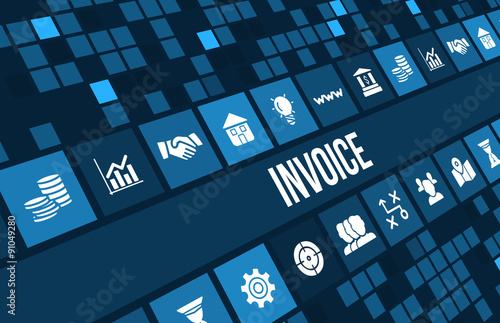 Fototapeta Invoice concept image with business icons and copyspace.