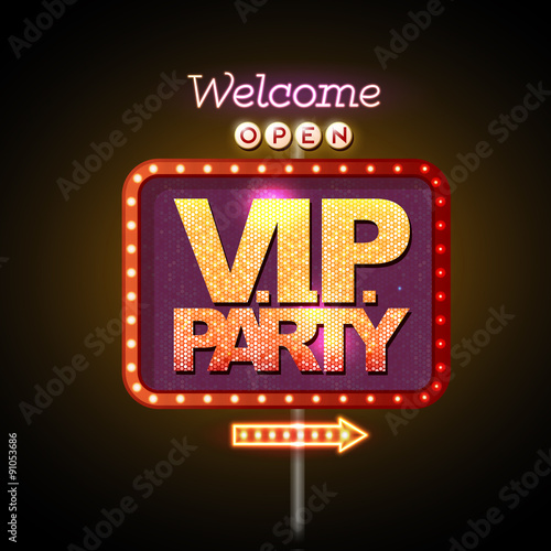 Fototapeta Neon sign V.I.P. party welcome