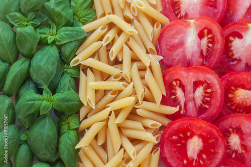 italian food with background - pasta, tomato, basil Poster