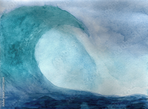 Ocean wave in watercolor - 91075844