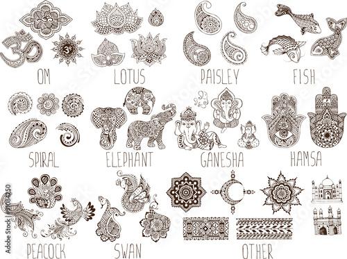 symbole mehndi na białym tle