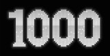 1000, formed to a jubilee number by exactly one thousand shiny silver platelets - isolated vector illustration on black background. poster