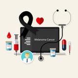 melanoma skin cancer black spot medical ribbon treatment health poster