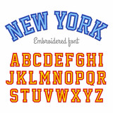New York, embroidered sport style font