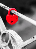 Red padlock at the bridge - 91120490