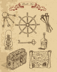 Engraved set with pirate objects