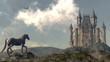 Obrazy na płótnie, fototapety, zdjęcia, fotoobrazy drukowane : Arriving at the castle - 3D render