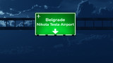 Belgrade Serbia Airport Highway Road Sign at Night