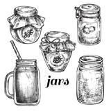 hand drawn set jars
