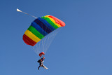 Ludzie skaczący ze spadochronem