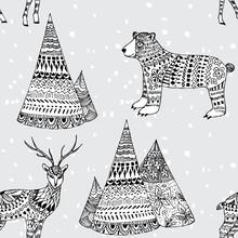 Oso, ciervos patrón de invierno y de montaña dibujado a mano