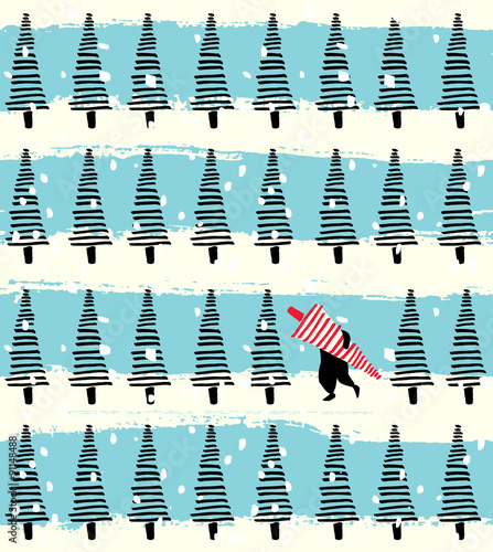 Materiał do szycia Christmas tree hand drawn seamless background
