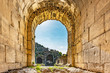 Entrance of Western Theater at Umm Qais in the ancient city of Decapolis, northern Jordan. It is located in the extreme north-west of the country, where the borders of Jordan, Israel and Syria meet.