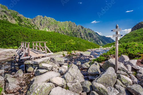 Signpost by the stream in Tatra Mountains