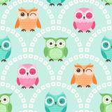 Fototapety seamless cute cartoon owls wallpaper pattern background