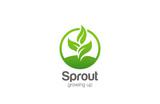 Eco Green Plant Abstract Logo circle shape design vector - 91185432