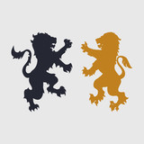 Two silhouettes of lion-heraldic style
