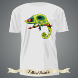 T-shirt design with abstract green chameleon