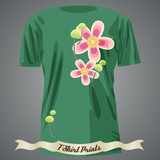 T-shirt design with abstract flowers