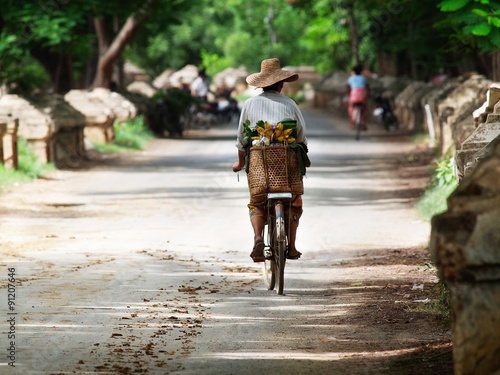 Poster Myanmar, the woman on the bicycle