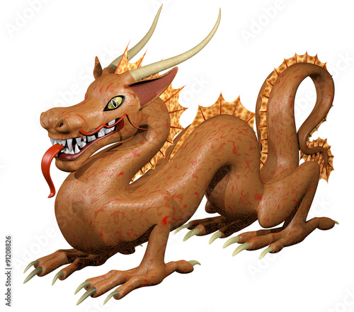 Foto op Plexiglas Draken Cute dragon in red and golden tints with green cat eyes isolated on white. 3D illustration..