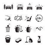 Car Wash Objects icons Set, Black and white, Silhouette, Car Care, Automobile