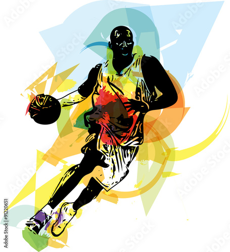 obraz PCV Sketch of basketball player