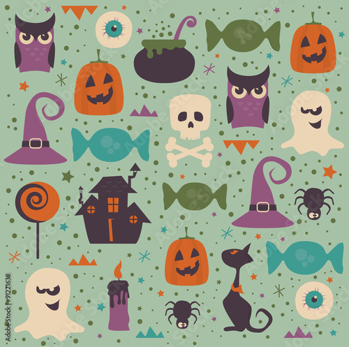 Cotton fabric Halloween seamless pattern