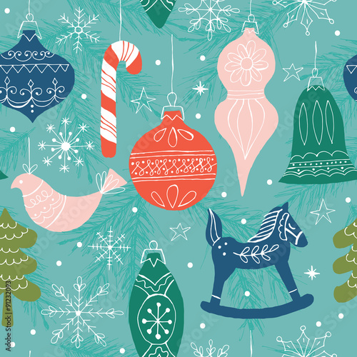 Cotton fabric Christmas seamless pattern background with ornaments and decorat