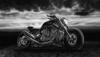 Composing with a motorcycle against dramatic sky in black and white © sandrafotodesign