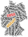 Syrian migrant or refugees crisis in Europe. poster