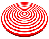 3d, red target isolated on white. Objective, accuracy, precise c poster