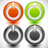 Power buttons vector. Power switches, turn on, turn off, shut do