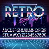 Shiny Chrome Alphabet in 80s Retro Futurism style. Vector font on cityscape background - 91278843