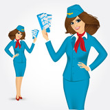 stewardess with tickets. Vector illustration
