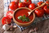 Fototapety Homemade tomato sauce with garlic and basil closeup. Horizontal