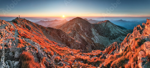 Panoramic Beautiful Carpathian mountains in autumn