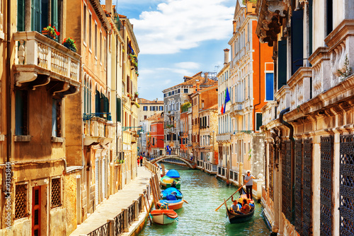 Fototapety, obrazy : View of the Rio Marin Canal from the Ponte de la Bergami. Venice