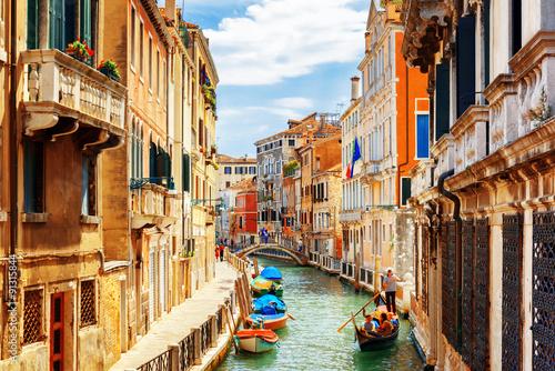Zdjęcia na płótnie, fototapety na wymiar, obrazy na ścianę : View of the Rio Marin Canal from the Ponte de la Bergami. Venice