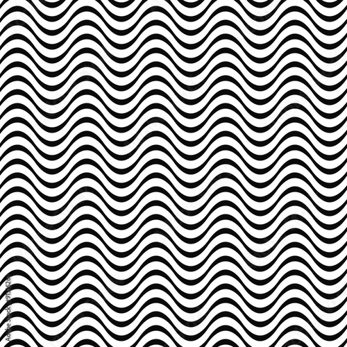 Black and white seamless wave pattern - 91316261