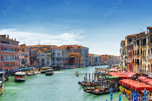 View of the Grand Canal from the Rialto Bridge in Venice, Italy Poster