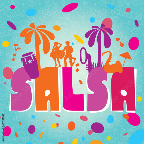 Fototapeta Salsa vector lettering with silhouettes of palms, musical instruments and confetti. Modern illustration, design element.