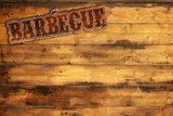 Fototapety barbecue label nailed to a wooden background