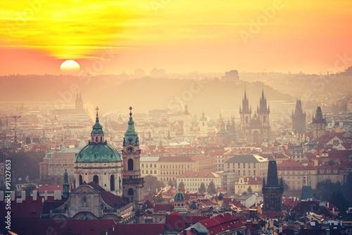 Fototapeta Prague at the sunrise