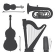 Постер, плакат: monochrome music instruments silhouettes illustration collection