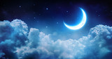 Romantic Moon In Starry Night Over Clouds  - Fine Art prints